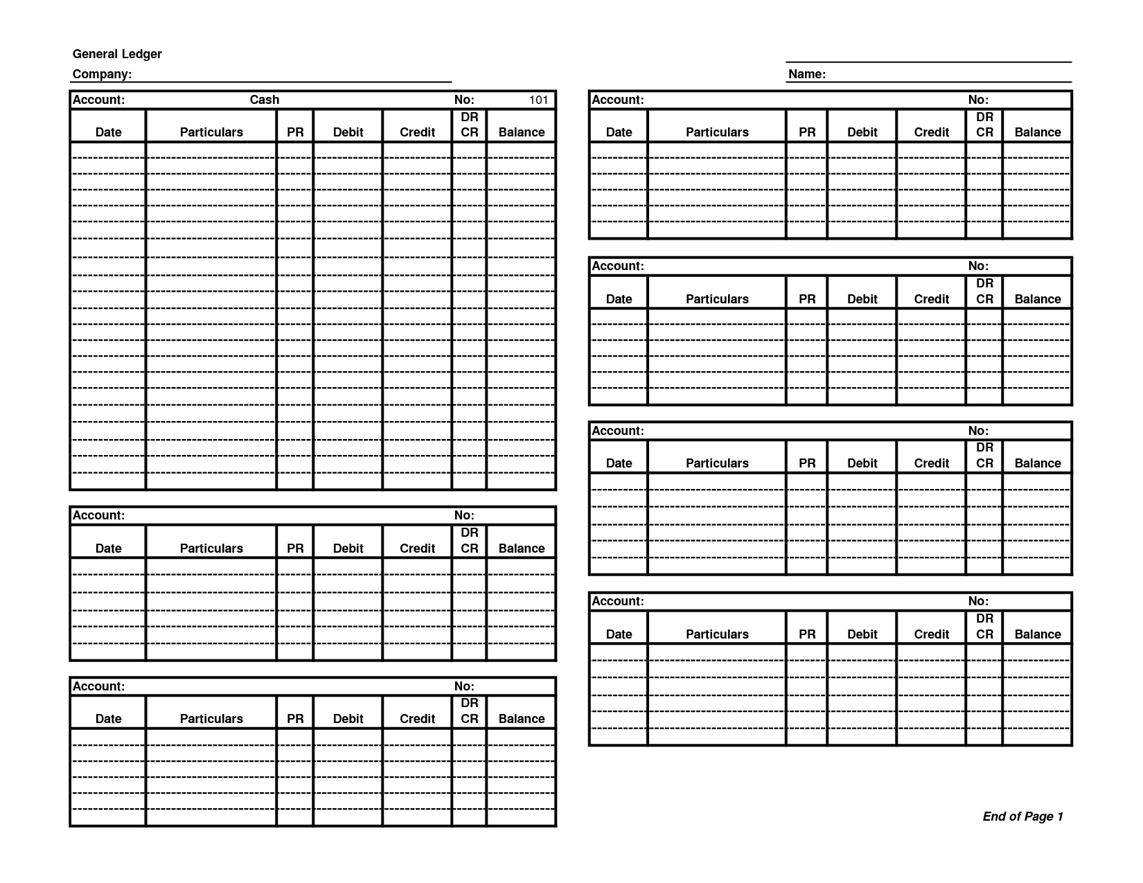 General Ledger Template Printable
