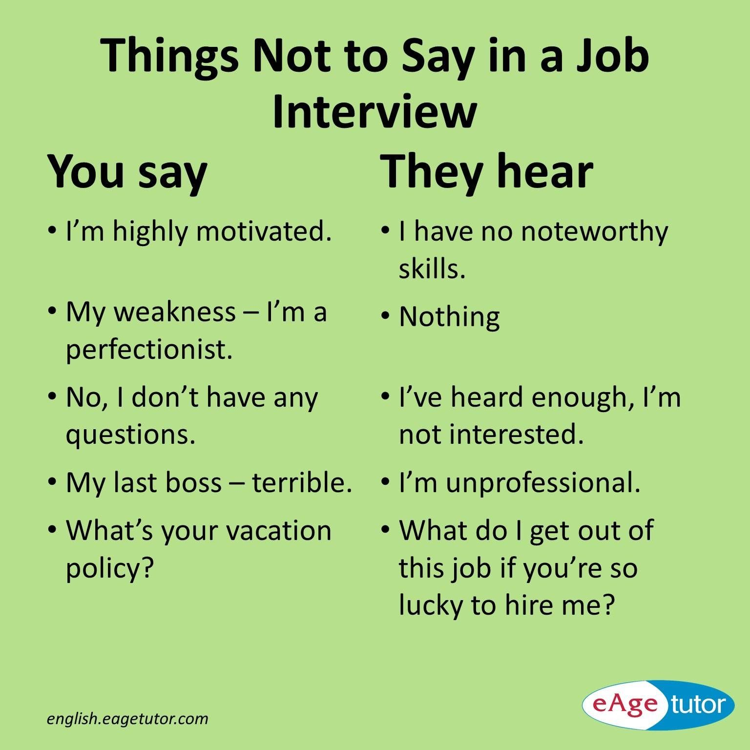 Things Not To Say In A Job Interview