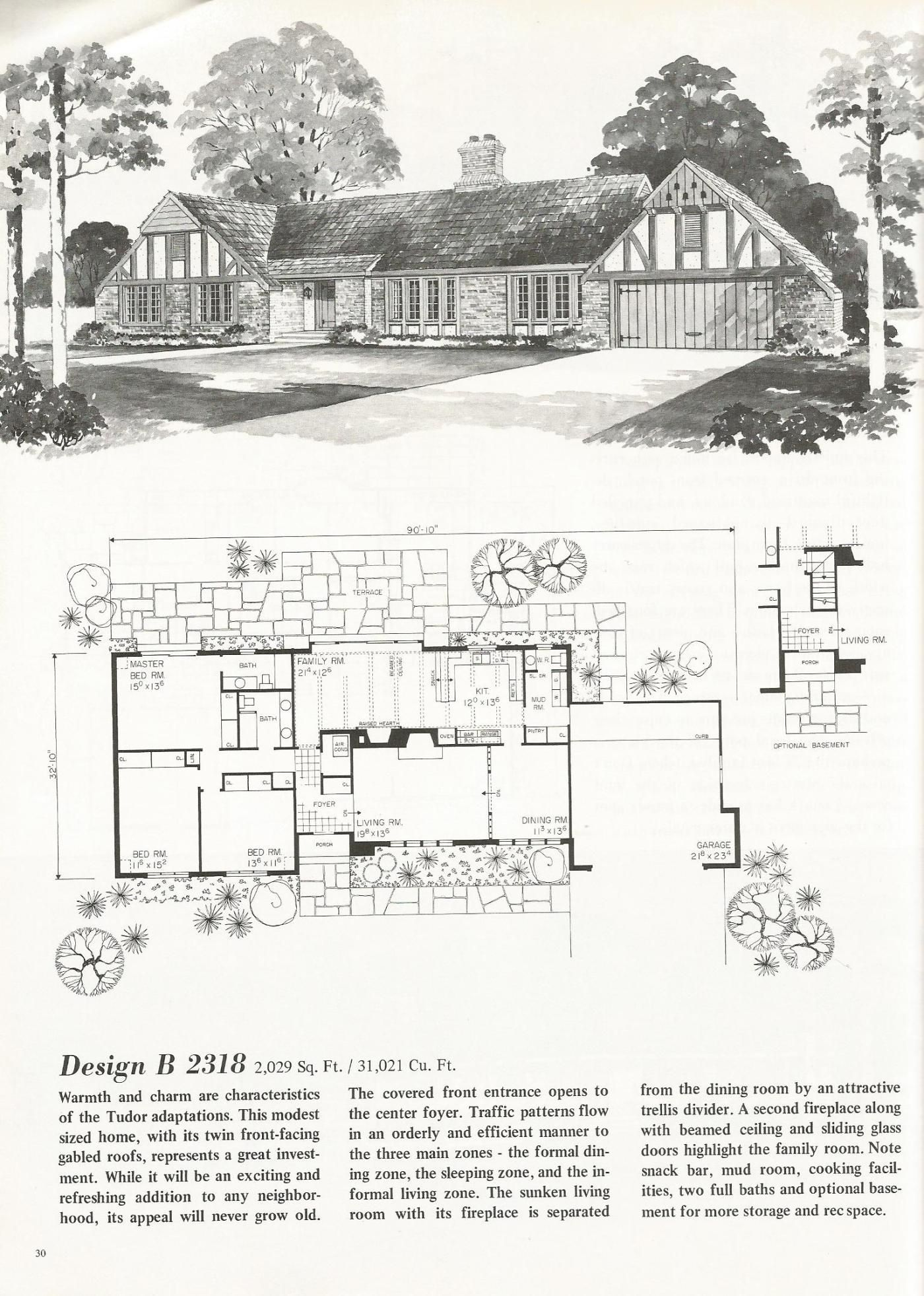 Design B 2318 Vintage House Plans: French Country and