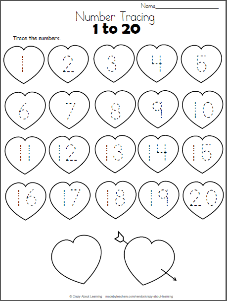 Free Heart Math worksheet. Trace the numbers from 1 to 20