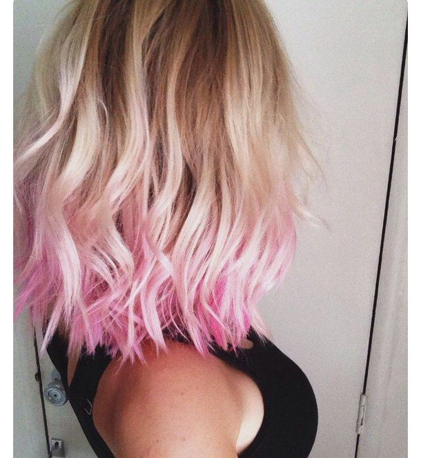 Blonde Dyed Tips Pink Hair Short Hair Wavy Hair Do It