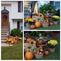 Outdoor fall display. Outdoor fall decor. Outdoor fall ...