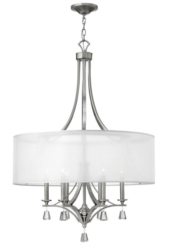 Fredrick Ramond Fr45608 6 Light 1 Tier Drum Chandelier From The Mime Collection Brushed Nickel Indoor