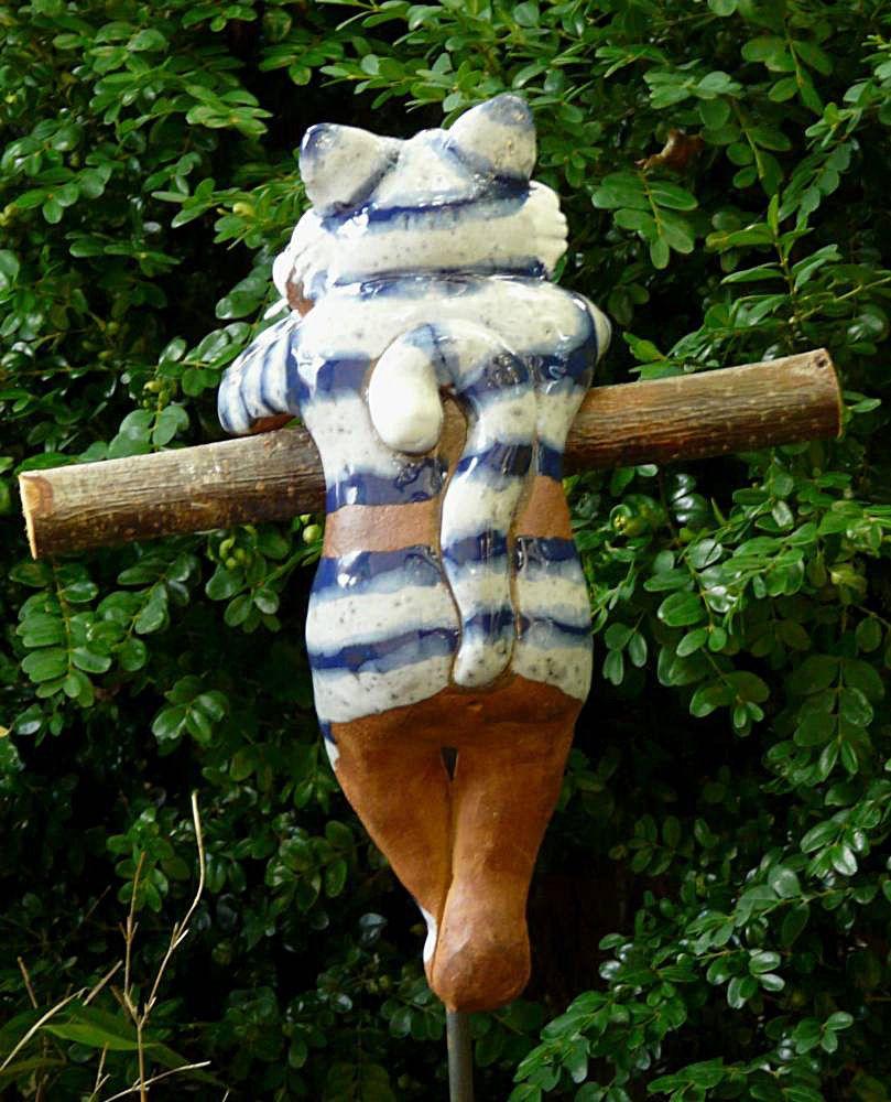 Gartenstecker Beetstecker Katze M Fisch Keramik Gartendeko Handarbeit Frostfest In Garten Terrasse Dekoration