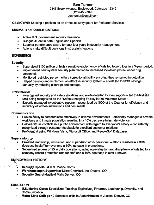 Armed Security Guard Resume
