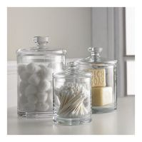 Glass canisters for bathroom storage - again, don't have ...