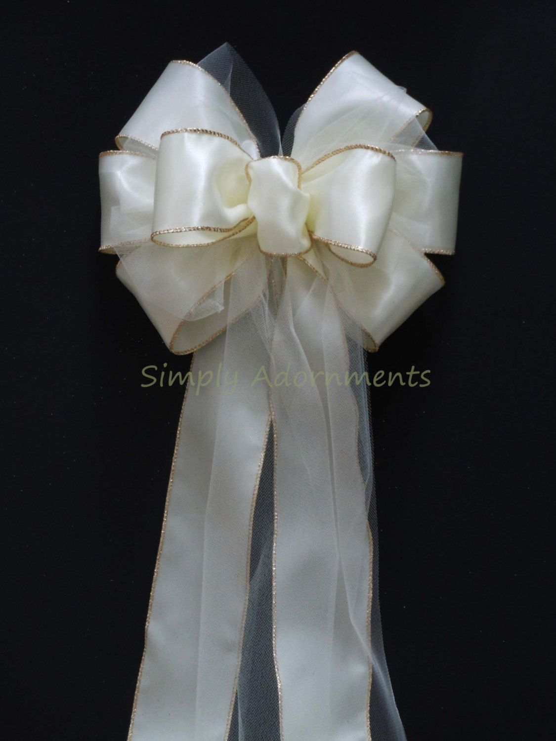 10 Ivory Satin Tulle Wedding Pew Bows Church by