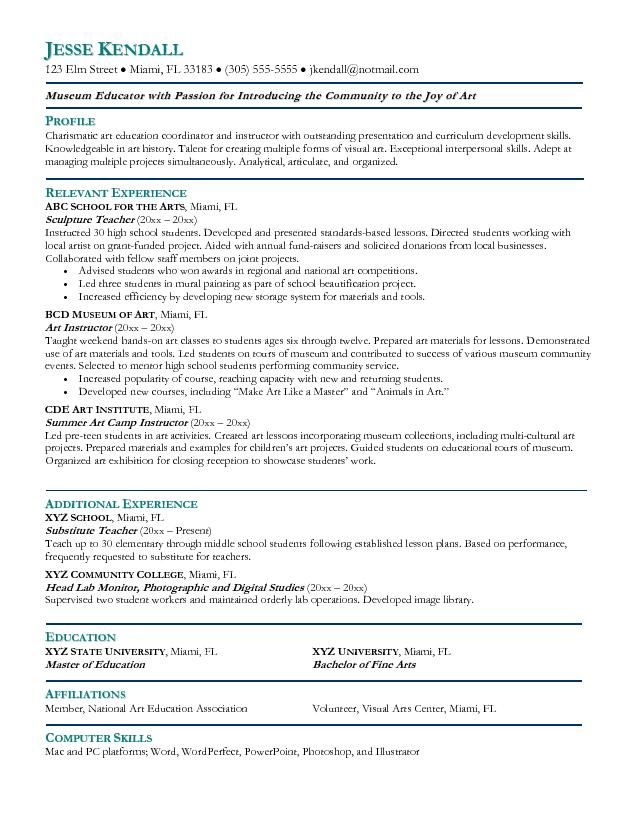 Example Art Teacher Resume Free Sample Resume Pinterest