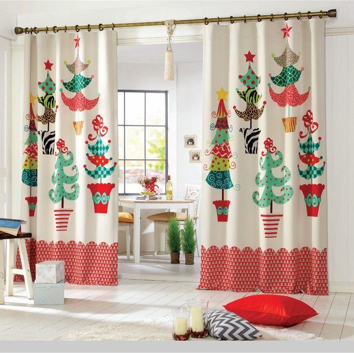 cute christmas theme kitchen curtains  Kitchen Curtains