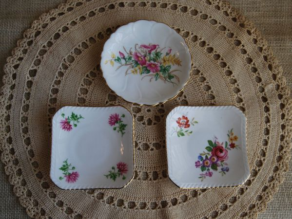 Adderley Floral Bone China Plates Set Of 3 Small Fine