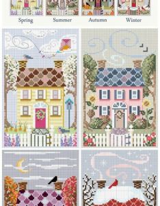 house for all seasons counted cross stitch charts free also ljt mauve rhododendrons lesley teare needlework and rh pinterest