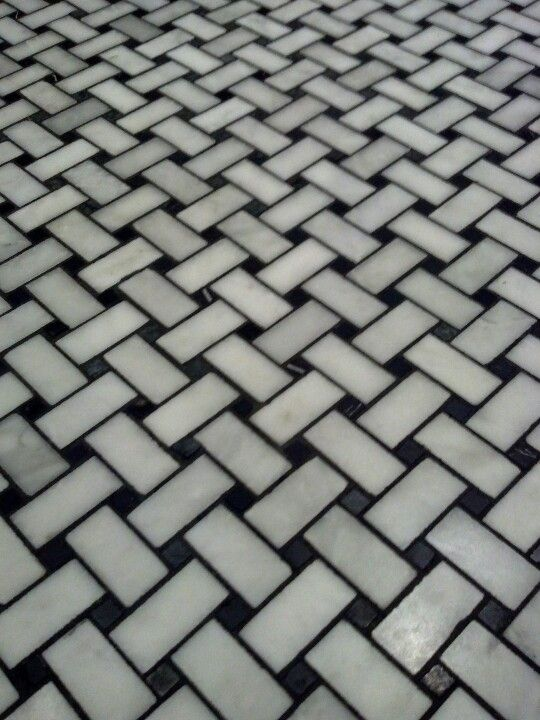 basketweave tile flooring with black grout We tried the