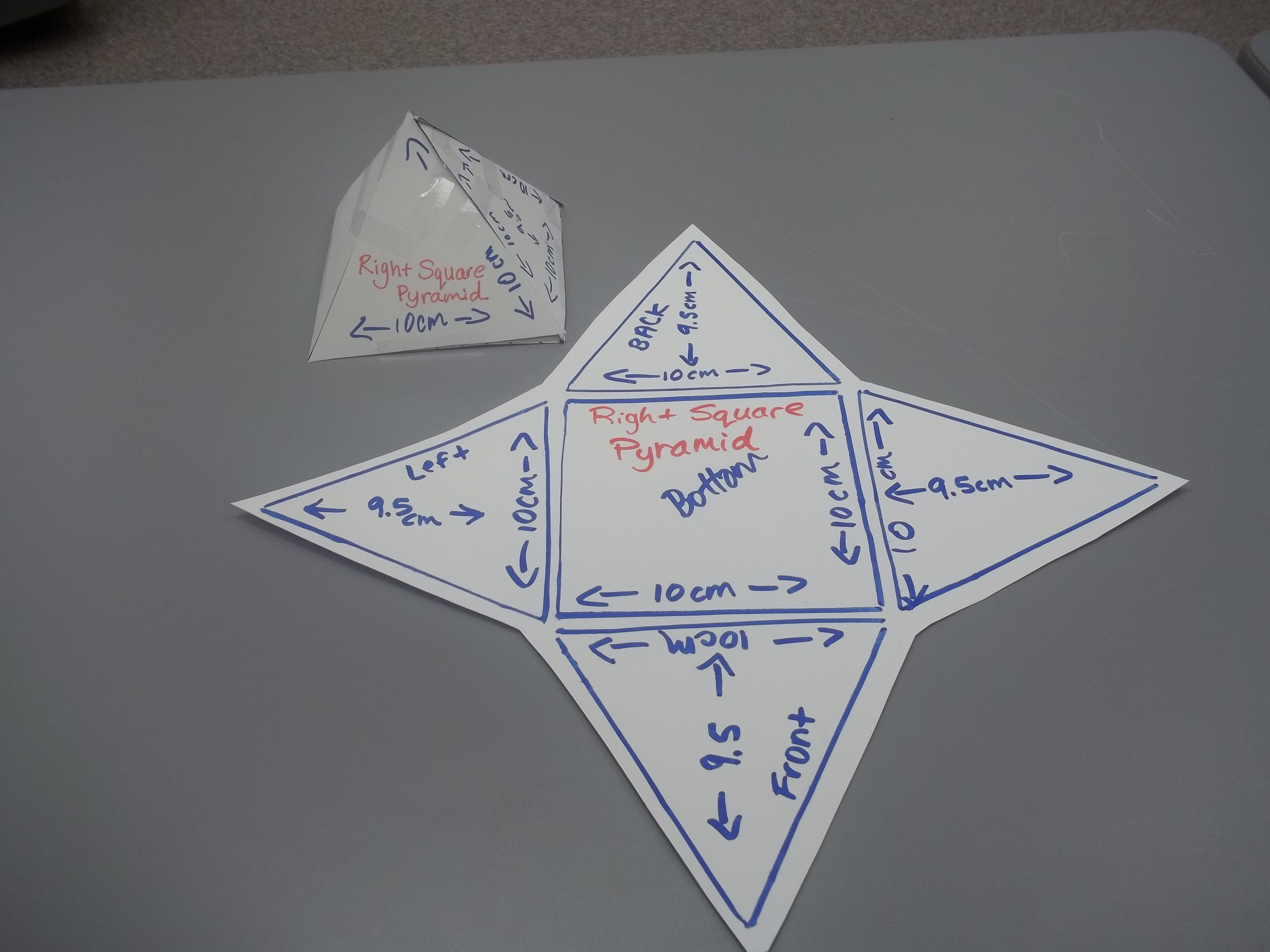 Surface Area Of Square Pyramid Using Net