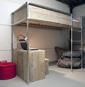 Loft Pipe Bed Frame Black Pipeaybe Not The High Wood Surround Maybe Pipes Instead Kids Rooms Pinterest