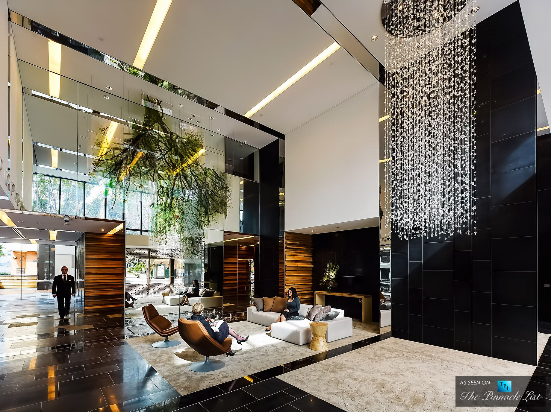 The Sunlit Double Lobby of the Luxury Hyde Apartment Building in Sydney Australia  Commercial