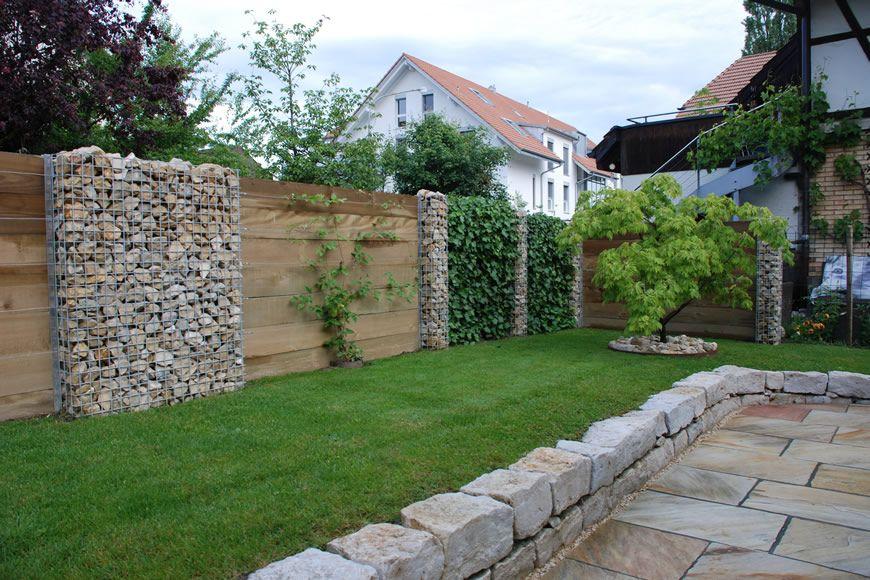 Sichtschutz Holz Stein Efeu 1  Garten  Pinterest  Zaun