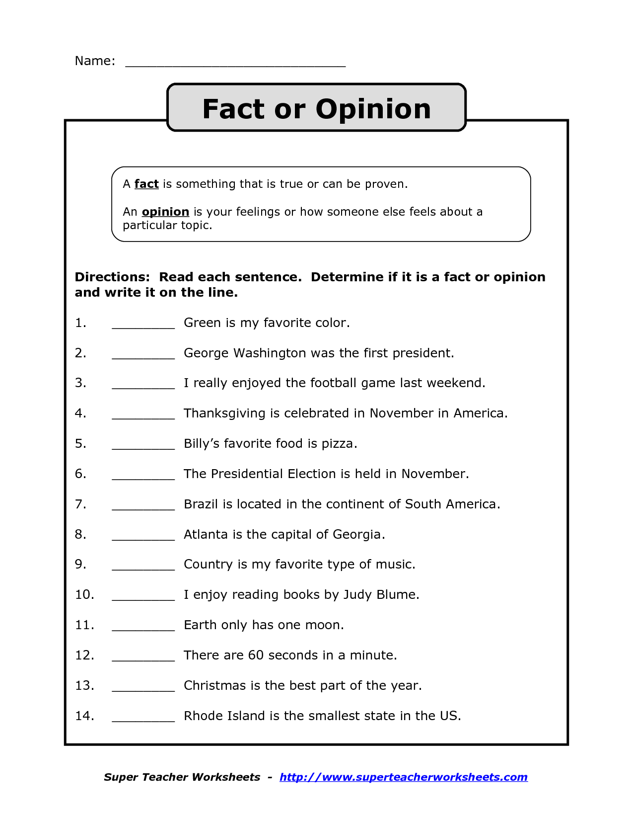 Fact Vs Opinion Worksheet