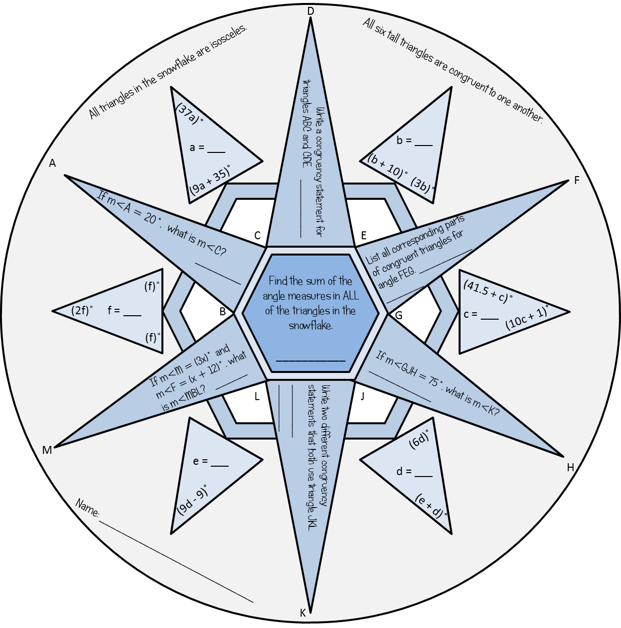 Free Congruent Triangles Practice Snowflake For Your High School Geometry Class Cut Around The