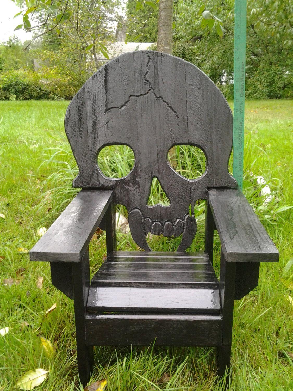 wooden skull chair revolving repair in kochi child sized skeleton themed adirondack