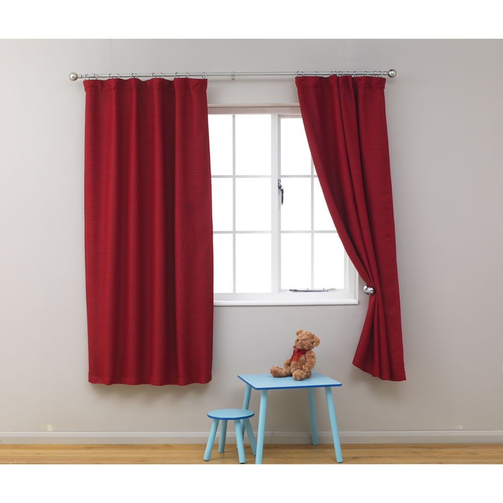 kids blackout curtains 66in x 54in red at wilko   boys bedroom