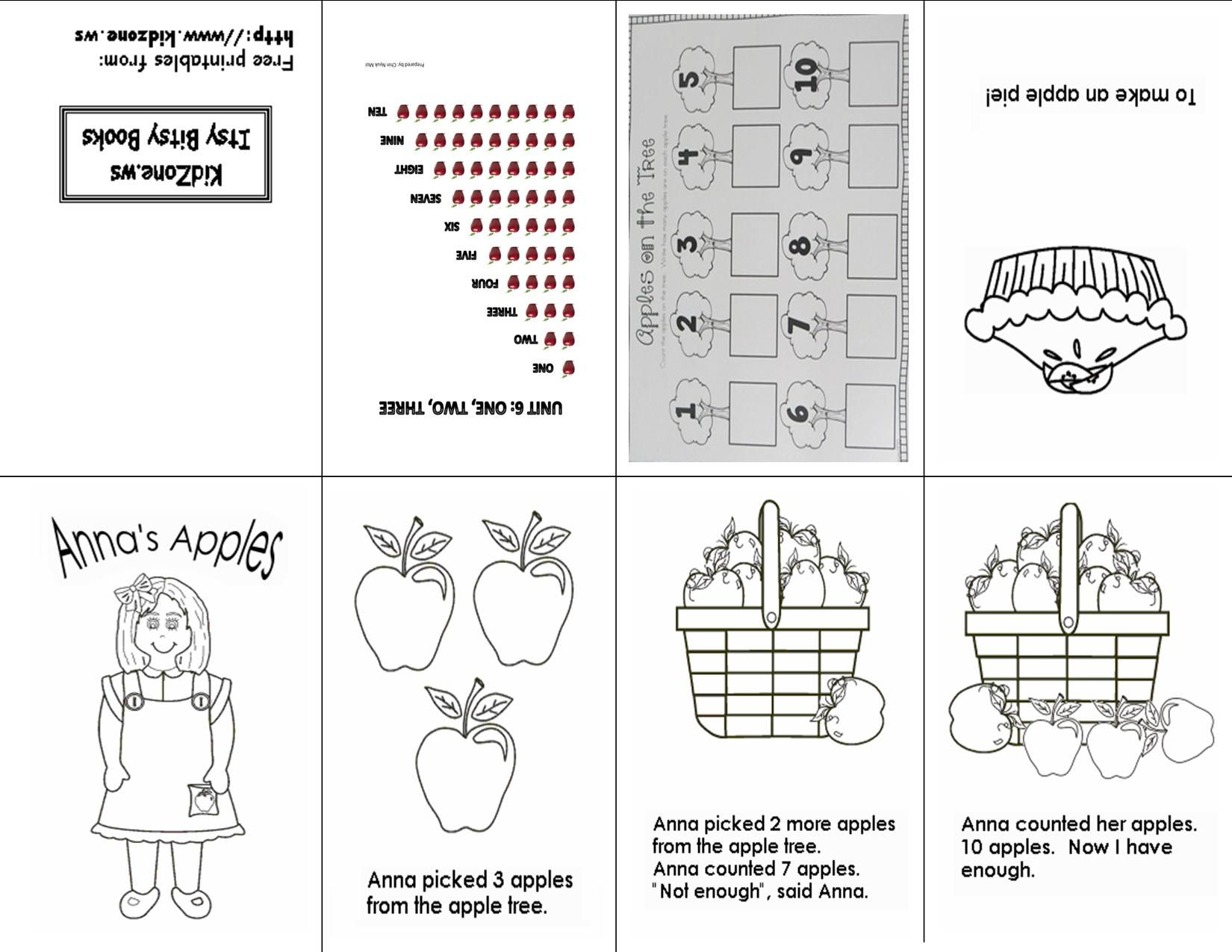 Counting Apples 1 10 One Sheet Printable Mini Book