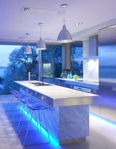 Kitchen designs blue led lighting infuse this modern design kitchens by mal corboy also classy superb home designing pinterest rh za