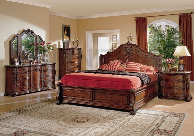 conventional king size bedroom sets with natural color wood curved