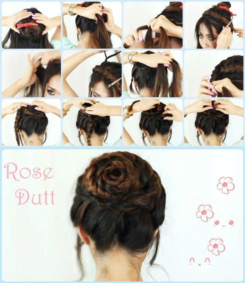 Rose Braid Hair Tutorial Frisuren Anleitung Frisuren Pinterest