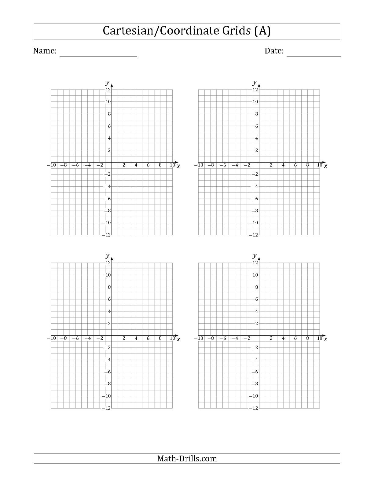 The 4 Per Page Cartesian Coordinate Grids Math Worksheet