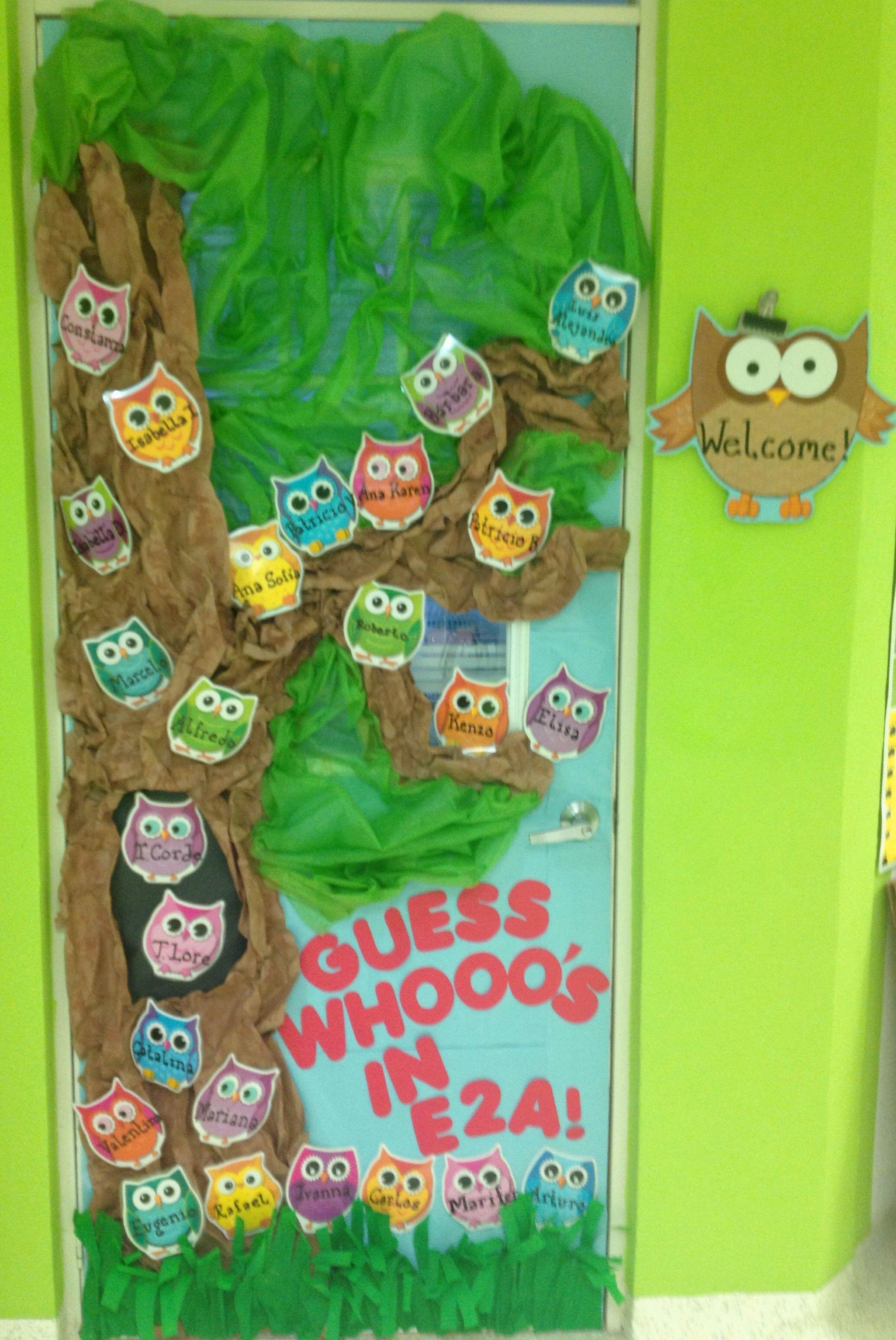 Owl door decoration to welcome kindergarten kids