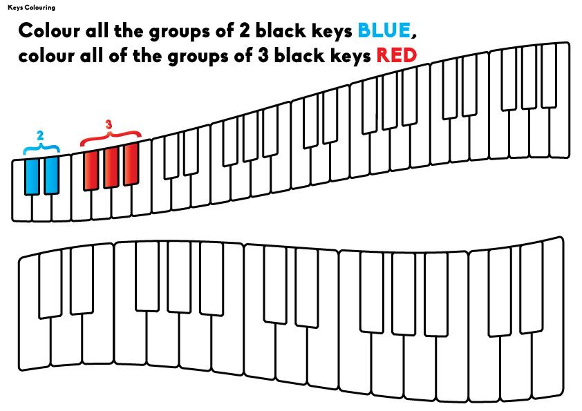 Colouring worksheet for beginning piano students to understand groups of 2 and 3 black keys
