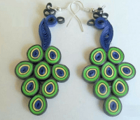Peacock quilling paper earring designs for kids ...