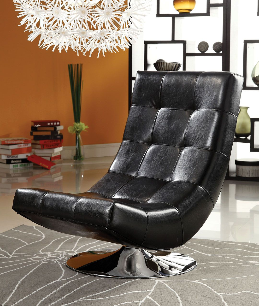Black Living Room Chair Trinidad Contemporary Style Black Leather Like Vinyl