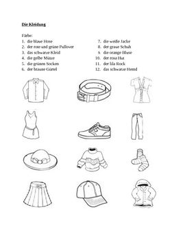 Kleidung (Clothing in German) Farbe worksheet 1