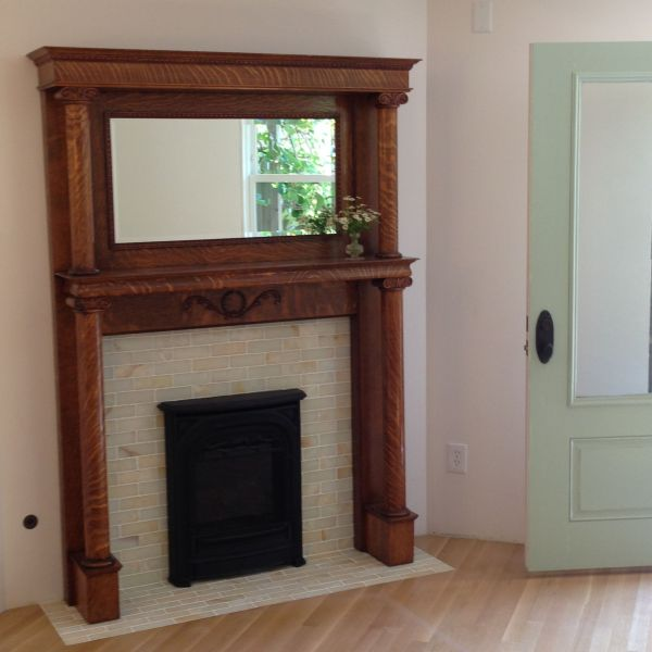 Antique Victorian Oak Fireplace Mantle With Onyx Tile