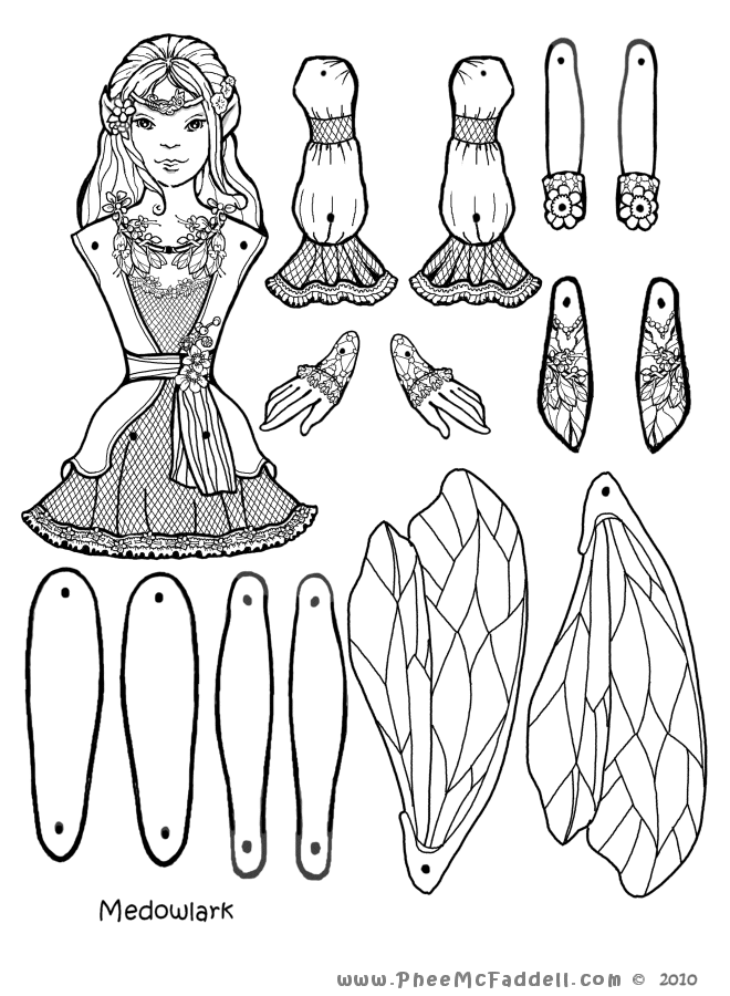 Meadowlark Fairy Puppet to Color, Cut Out, & Assemble