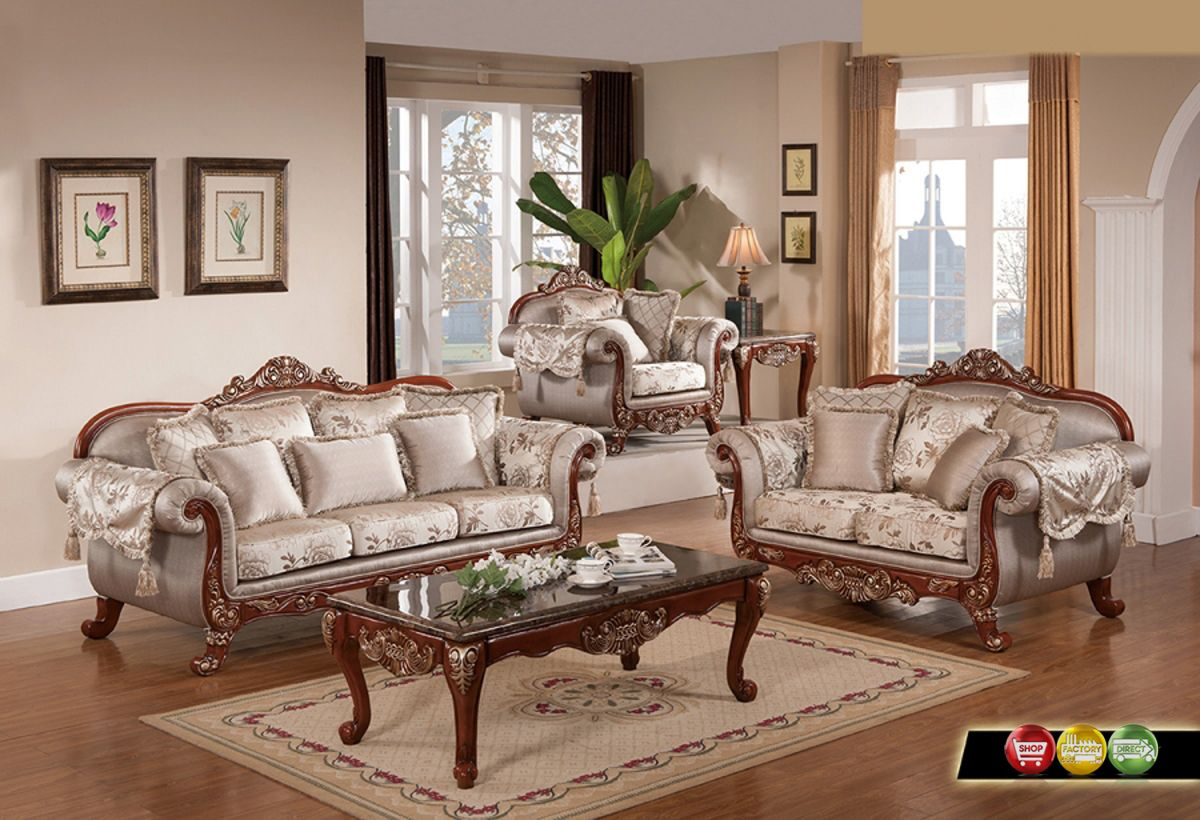 wood sofa for living room leather sofas uk direct luxurious traditional formal furniture