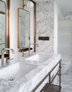 Atelier tao  has renovated  top floor apartment in one of the earliest high rise buildings shanghai adding bookshelves all around its perimeter also pin by wong blank on toilet pinterest bath and washroom rh