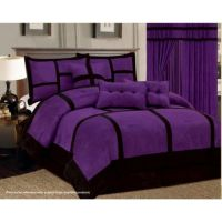 11 Piece Purple Black Comforter Set + Sheet Set Micro