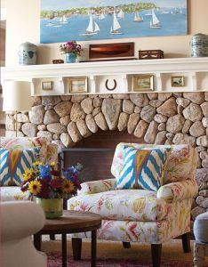 House of turquoise carol bancker vietor interior decoration  love everything about this fireplace the rocks painting above mantle also beautiful pinterest rh