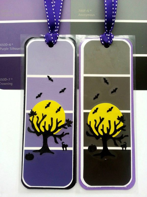 Halloween Crafts- Bookmarks With Paint Chips