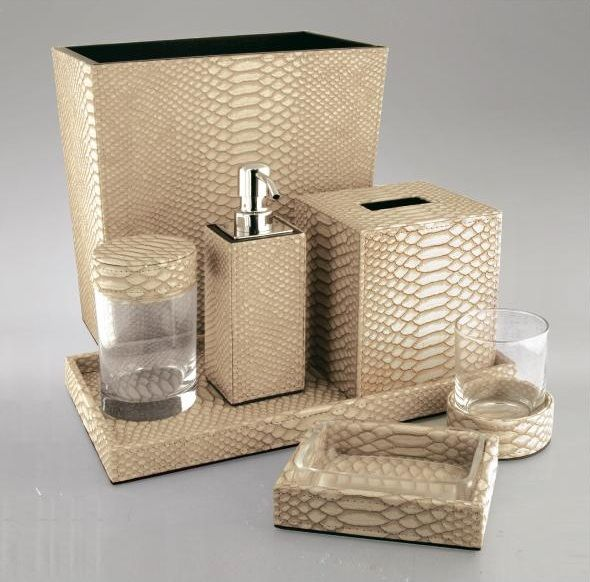 luxury hotel bathroom set: gold python leather * hotel contract