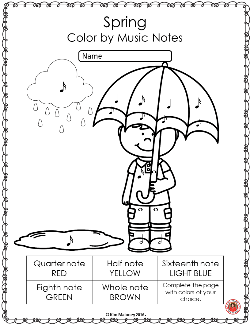 Spring Music Coloring Sheets: 26 Spring Music Coloring