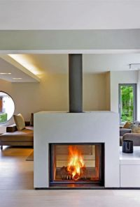 Wood-burning closed hearth for double-sided fireplaces ...
