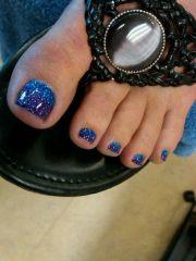 blue sparkle pedicure nail art