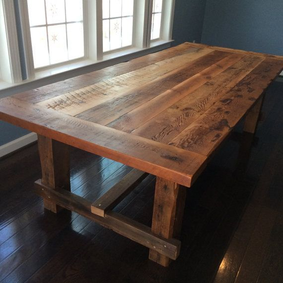 Farmstyle dining table handmade from reclaimed barn