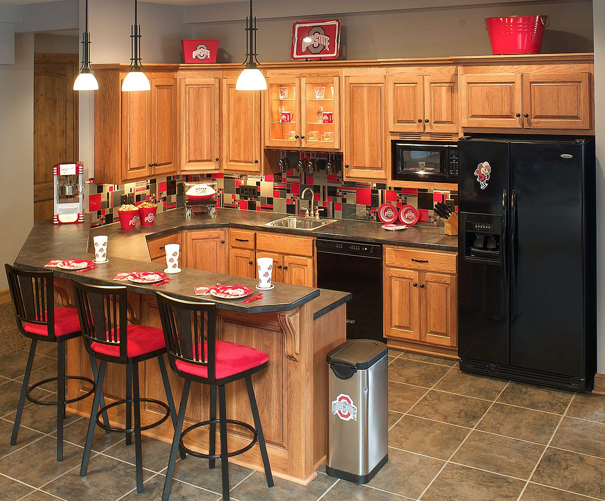 Ohio State Themed Basement Kitchen Or Regular Kitchen, It