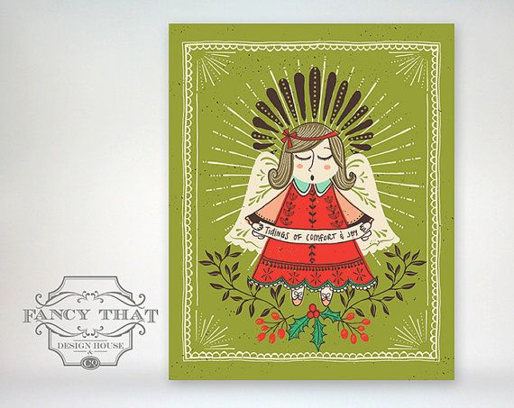 Vintage Inspired Angel Christmas Holiday Print By Fancy That