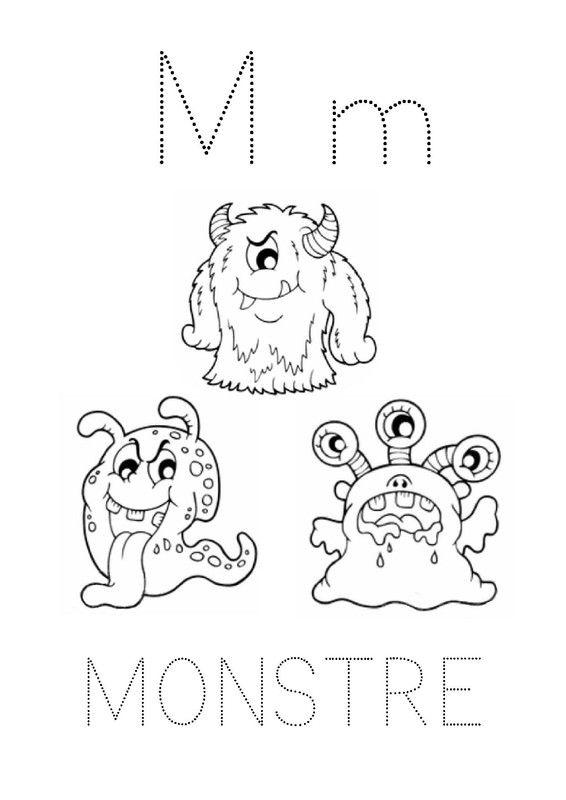 Fiche de graphisme avec la lettre M comme monstre (Script