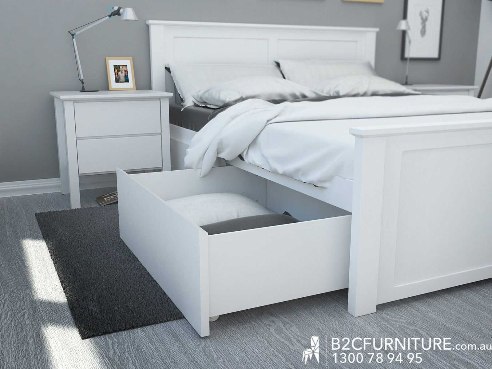 White Queen Bed Frame With Under Bed Storage Drawers